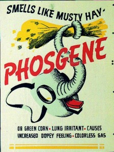 PHOSGENESimilar to the chlorine gas, phosgene attacks the lungs of the victim causing suffocation, without creating the same burning sensation associated with chlorine gas. Phosgene victims don't experience extreme fits of violent coughing at first, which leads to increased inhalation. Although colourless and ordourless, phosgene reportedly smalled similar to damp hay.