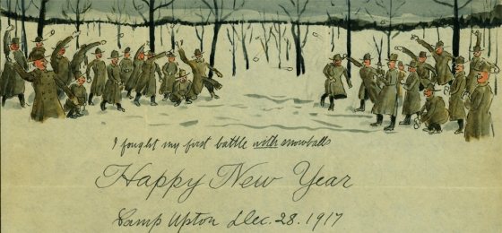 Pvt. Salvatore Cillis' depiction of a snowball fight between First World War soldiers.