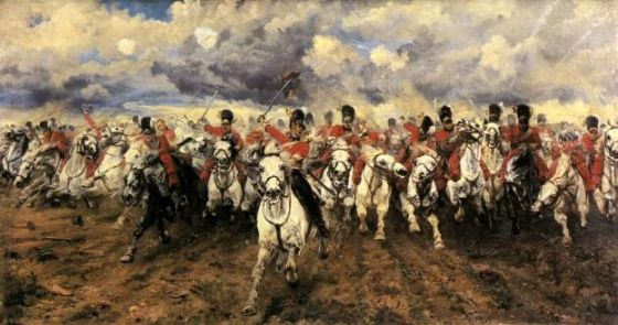 The famous charge of the Scots Greys at Waterloo. The famous 1815 clash between Napoleon and Wellington was just one the 20 most influential British battles listed in the Telegraph.