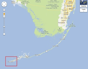 Key West sits at the far western end of the Florida Keys.