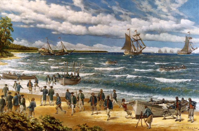 American marines make their first-ever amphibious landing at Nassau on March 3, 1776.