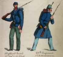 A contemporary illustration of two of New York State's Irish and Scottish regiments.