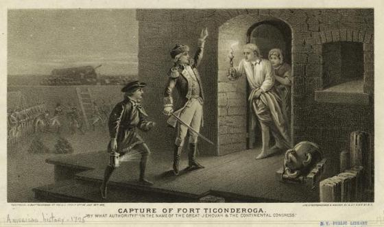 An engraving of Ethan Allen of Vermont capturing of the British held Fort Ticonderoga. Despite its contributions to the Revolution, Vermont declared its own separate independence from the United States and in 1780 entered into negotiations for a separate peace with Britain.