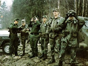 American and West German troops observe Soviet units across the Fulda Gap in West Germany in 1983.
