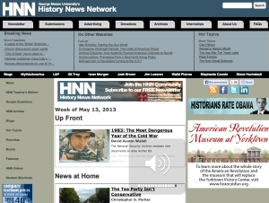 This story appeared Friday on George Mason University's History News Network website. Make sure you check it out.